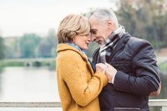 Beaux couples mûrs tenant le lac proche Images libres de droits