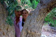 Beaux couples magnifiques sur l'arbre du cèdre d'amour, sur la Chypre Image libre de droits