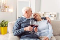 Beaux couples pluss âgé faisant le pain grillé et faisant tinter des verres Image libre de droits