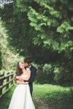 Beaux couples posant en parc Nouveaux mariés de lune de miel dans l'amour tenant des mains Photographie stock libre de droits