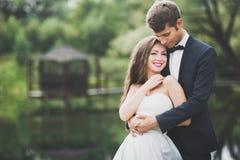 Beaux couples posant en parc Nouveaux mariés de lune de miel dans l'amour tenant des mains Images stock