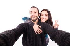 Beaux couples prenant une photo de selfie Image stock