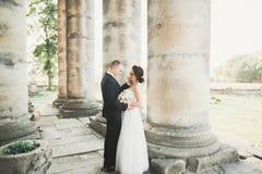 Beaux couples romantiques des jeunes mariés de nouveaux mariés étreignant près du vieux château Image libre de droits