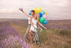 Beaux couples sur le gisement de lavande Image libre de droits