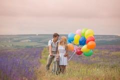 Beaux couples sur le gisement de lavande Image stock