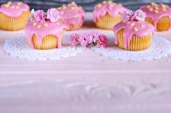 Beaux desserts avec le givrage rose Place pour le texte Photo libre de droits