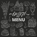 Beaux desserts doux réglés Clipart pour un menu de restaurant ou de café Schéma Morceau de gâteau avec les baies fraîches croquis illustration libre de droits