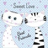Beaux deux chats avec amour doux des textes sur le fond bleu illustration de vecteur