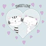 Beaux deux chats avec amour doux des textes sur le fond bleu illustration stock