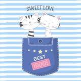 Beaux deux chats dans la poche avec amour doux des textes sur le fond bleu illustration stock