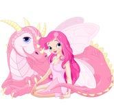 Beaux dragon et fée magiques Images libres de droits