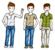 Beaux enfants mignons de petits garçons tenant c différent de port illustration stock