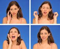 Beaux femme et écouteurs Photographie stock