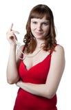 Beaux femmes dans la robe rouge photographie stock