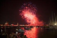 Beaux feux d'artifice à Venise, Italie Images stock