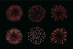 Beaux feux d'artifice rouges réglés Les feux d'artifice lumineux ont isolé le fond noir Feux d'artifice rouge-clair de décoration Photographie stock libre de droits