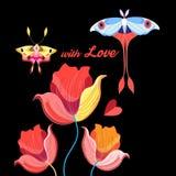 Beaux fleurs et papillons au jour de tous les amants Photo stock