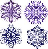Beaux flocons de neige de Noël Ensemble complet de 4 choses 6 illustration stock