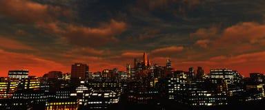 Beaux gratte-ciel de nuit contre le ciel photographie stock libre de droits