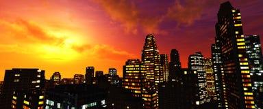 Beaux gratte-ciel de nuit contre le ciel image libre de droits