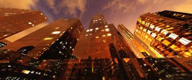 Beaux gratte-ciel de nuit contre le ciel images libres de droits