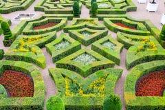 Beaux jardins de château de Villandry dans les Frances de la Loire Image libre de droits