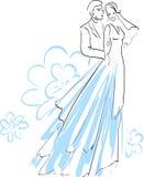 Beaux jeune mariée et fiancé Image libre de droits