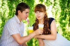 Beaux jeunes couples ayant l'amusement Pique-nique dans la campagne heureux Photo libre de droits