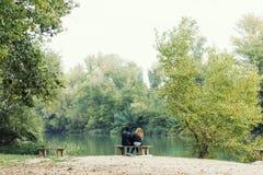 Beaux jeunes couples dans l'amour en parc Image stock