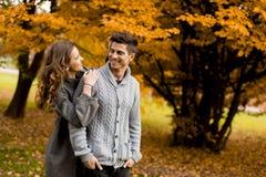 Beaux jeunes couples dans la forêt d'automne Photo stock