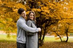 Beaux jeunes couples dans la forêt d'automne Image libre de droits