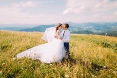 Beaux jeunes couples de mariage embrassant sur le champ ensoleillé venteux avec Forest Hills éloigné comme fond Photographie stock libre de droits