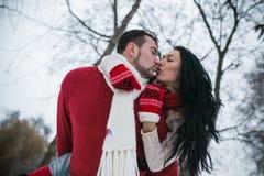 Beaux jeunes couples embrassant en parc Image libre de droits