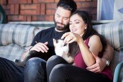 Beaux jeunes couples magnifiques tenant des chats dans des mains Images stock