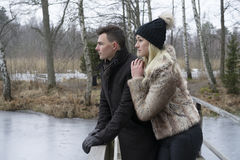 Beaux jeunes couples scandinaves se tenant sur le pont dans le paysage suédois d'hiver Femme étreignant l'homme Photo stock