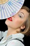 beaux jeunes de fille de ventilateur Photos stock