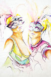 Beaux jeunes femmes avec des masques de carnaval Images libres de droits
