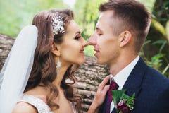 Beaux jeunes mariés de nouveaux mariés étreignant en parc Images libres de droits