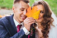 Beaux jeunes mariés de nouveaux mariés étreignant en parc Plan rapproché de visage Photographie stock
