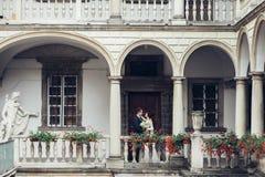 Beaux jeunes mariés embrassant et embrassant sur leur mariage photographie stock