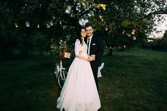 Beaux jeunes mariés en parc de soirée se tenant sous l'arbre romantique décoré de beaucoup de lanternes Photos stock