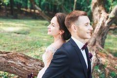 Beaux jeunes mariés heureux reposant sur un identifiez-vous le parc Jour du mariage Belle jeune mariée et marié élégant image stock