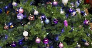 Beaux jouets pourpres brillants sur un arbre velu de nouvelle année Photographie stock