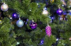 Beaux jouets pourpres brillants sur un arbre velu de nouvelle année Images stock