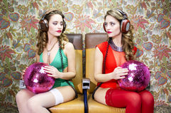 Beaux jumeaux de disco Images stock