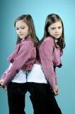 Beaux jumeaux posant dans le studio Image stock