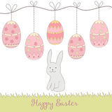Beaux lapin et oeufs tirés par la main - carte heureuse de concept de Pâques, faite dedans illustration stock