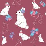 Beaux lapins avec des fleurs Modèle sans couture puéril mignon dans le style de bande dessinée Modèle sans couture pour des papie illustration libre de droits