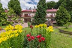 Beaux lis blancs et rouges s'élevant sur une pelouse verte devant la maison avec un toit carrelé et un grand mensonge en pierre Image libre de droits