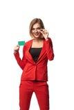 Beaux lunettes de port de sourire de femme d'affaires et dans le r Image libre de droits